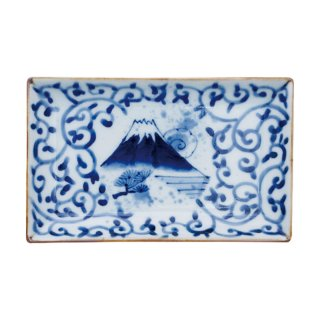 染付濃蛸唐草富士山 小焼物皿