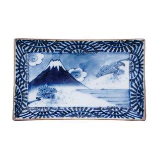 染付蛸唐草富士山 小焼物皿