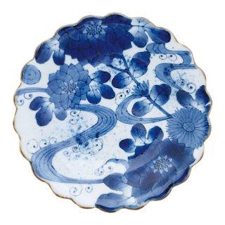 染付流水菊 菊割八寸皿