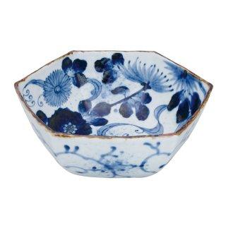 染付流水菊 六角菓子鉢