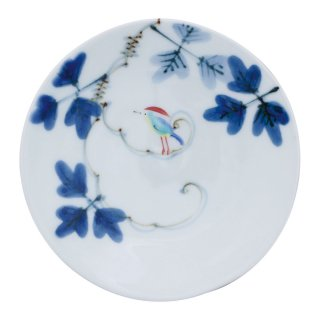 錦鳥とシダ模様 三寸皿