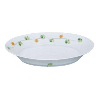 錦オリーブ フレンチ皿(中・橙)