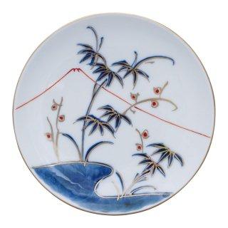 染錦笹に富士山図 丸小皿