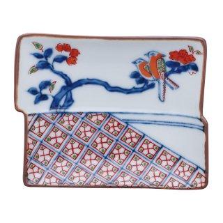 染錦地紋鳥文 角型手塩皿