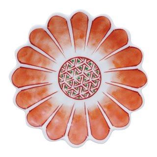 赤絵花弁文 七宝菊型手塩皿