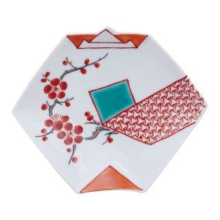 錦地紋梅 折紙型手塩皿