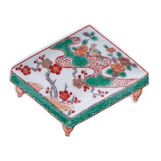 錦梅に鶯 盤型手塩皿