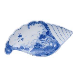 草花波文 貝型手塩皿