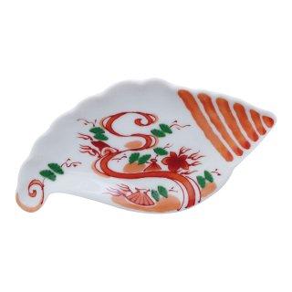 赤絵流水紋 貝型手塩皿