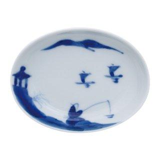 染付山水 楕円小皿