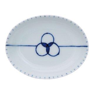 染付えん結び 楕円小皿
