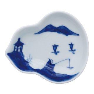 染付山水 瓢型小皿