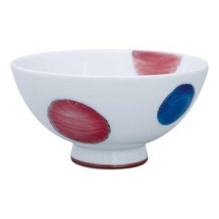 三色丸紋 三・六寸飯碗