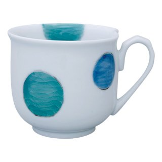 三色丸紋 ハート型マグカップ(緑)