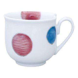 三色丸紋 ハート型マグカップ(紫)