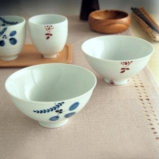 木の葉/錦剣先小花 飯碗