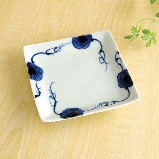 藍染ばら正角小皿