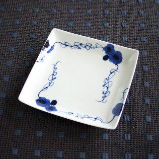 藍染ばら正角銘々皿