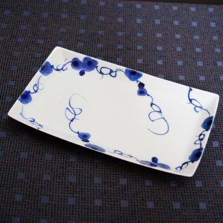 藍染ばら長角皿