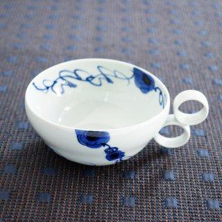 藍染ばらスープカップ