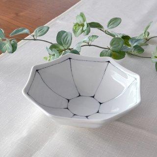 染付線筋 八角平鉢