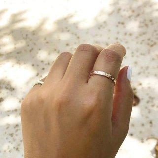 『Laule'a』2個付けもかわいい♡3�幅 ゴールドリング(14K・ホワイトゴールド)の商品画像