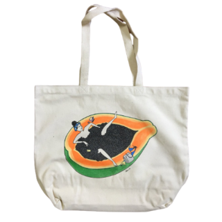『Kris Goto』シュール&カワイイ!ご機嫌な気分になれる♪キャンバスジャンボトートバッグ「Papaya Time」の商品画像