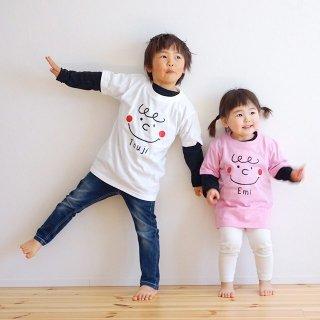 ●4色(size90~120)名前入Tシャツ【かお】半袖