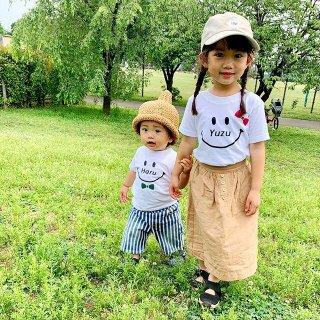 ◎リボン6色:長袖変更可能☆(size80〜120)名前入り Tシャツ【スマイル】白