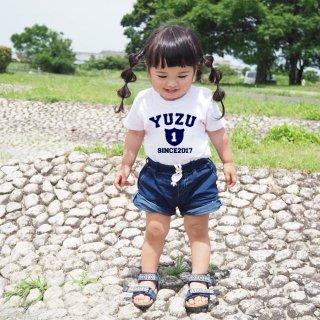 ◎長袖変更可能(size80~120)名前入り:Tシャツ【emblem】白