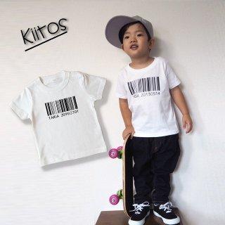 ◎(size80〜120)名前入Tシャツ【バーコード】