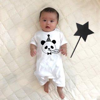◎(size70・80)名前入り ロンパース【ゆるパンダ】白
