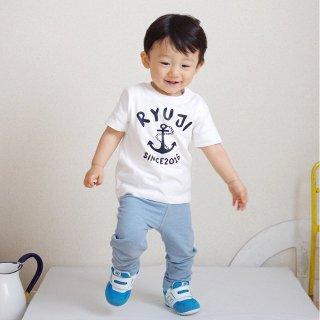 ◎(size80〜120)名前入Tシャツ【マリン】白