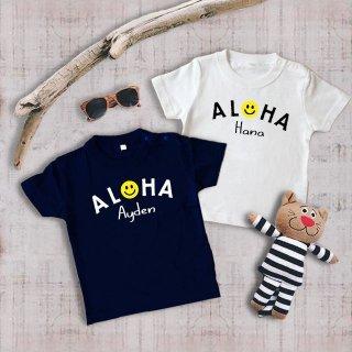◎長袖可能(size80〜120)名前入Tシャツ【aloha】