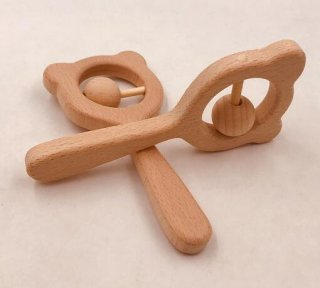 即納*baby木製くまさんラトル