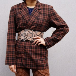 Used Check Tailored Jacket BROWN