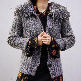 Used Volume Fringe Collar Mix Knit Cardigan