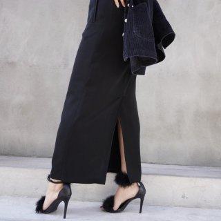 Used Black Poly Long Skirt