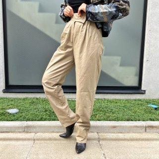 Used Design Waist Leather Pants BEIGE