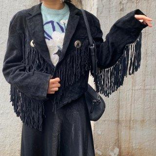 Used 80s Suede Fringe Jacket BLACK