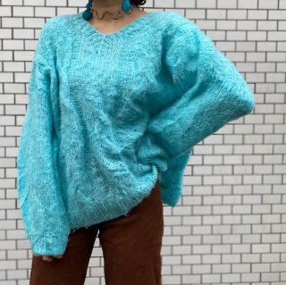 Used Mohair Cable Knit Sweater BLUE
