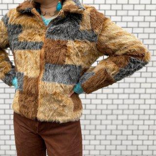 Used Fake Fur Mix Color Jacket