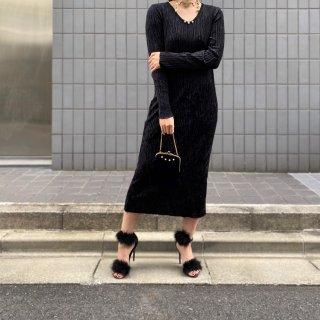 Used Velour Pleats Black Dress