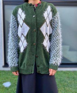 Used Shaggy Sleeve Argyle Knit Cardigan