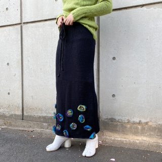 Used 3D Flower Knit Long Skirt