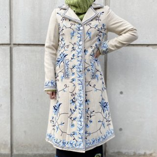 Used Embroidery Wool Long Coat
