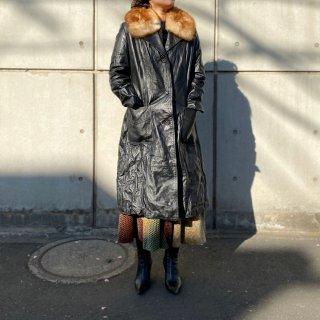 Used Fur Collar Leather Long Coat