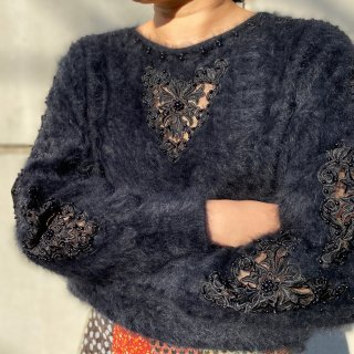 Used Angola Lace Decollation Knit Sweater