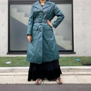 Used Leather Mesh Pocket Long Coat GREEN
