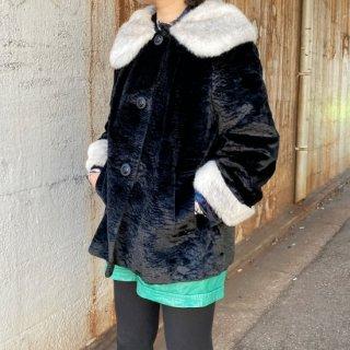 Used Fake Fur Big Collar Coat